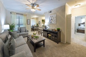 Two Bedroom Apartments for Rent in Northwest Houston, TX - Model Living Room with View of Bedroom
